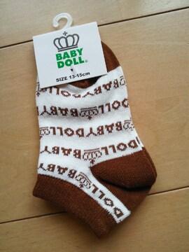 新品総柄スニーカーソックス 靴下/茶13〜15�pベビドBABYDOLLベビードール