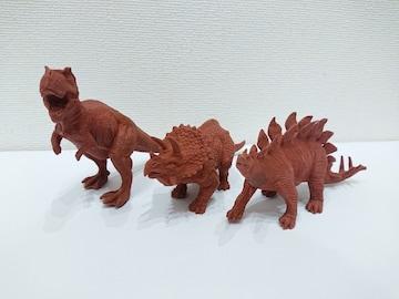 大きい恐竜(ティラノサウルス、トリケラトプス、ステゴサウルス)消しゴム 赤色