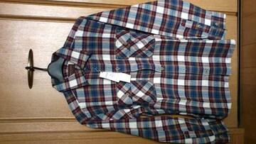 激安72%オフ長袖シャツ、ネルシャツ(新品タグ、茶紺、日本製、M)