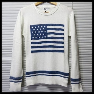 SALEカラーフェード星条旗クルーネックニット/WHITE/L