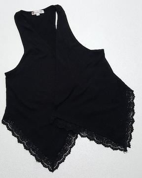 黒のジレ★裾レース仕様★XLサイズ