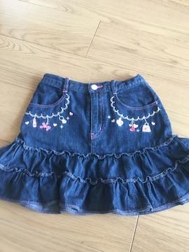 メゾピアノ130☆コスメ柄ラメ刺繍使えるデニムスカート