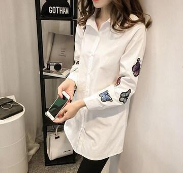 レディースシャツ ブラウス 刺繍 白シャツS~XXL/AK289