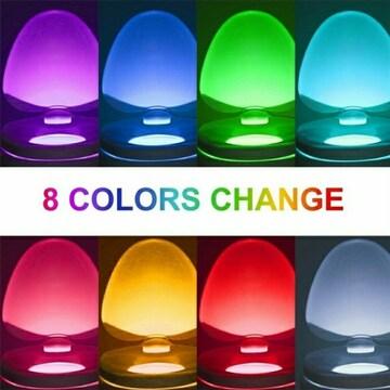 新品 トイレ ライト 8色 便座 センサー ライト カラー 光