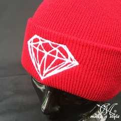 ダイヤモンド 刺繍 ニットキャップ ワッチキャップ 紅 B系 381
