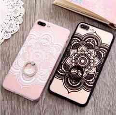 新品 iPhone7 iPhone8用 大きなお花のケース  ホワイト�@