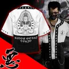 送料無料/ヤンキーチンピラオラオラ系和柄ベースボールシャツ/B系HIPHOP服15005-L