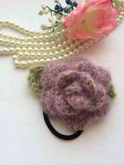 ハンドメイド ヘアゴム 薔薇 モヘア パープル アナスイ好き 紫