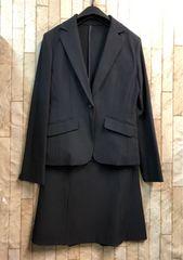新品☆7号すご伸びストレッチ紺柄スカートスーツ楽ちん☆b824