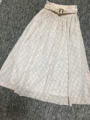 ピンクベージュ 花柄 ロングフレアスカート 共布ベルト付