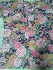 ☆処分品紺×牡丹大扇子和柄ダボシャツL