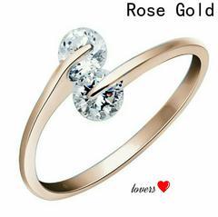 送料無料15号ピンクゴールドスーパーCZダイヤモンドリング指輪