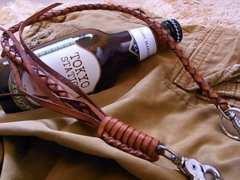 4編み ウォレットチェーン :light,brown■genuine leather