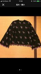 ページボーイ ハイネック 花柄 刺繍 ブラウス ブラック