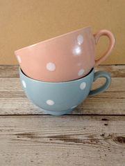 水玉 スープカップ ブルー&ピンク2点セット