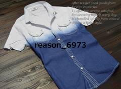 ★MMDD グラデーション柄 半袖デニムシャツ★3sizeから選択