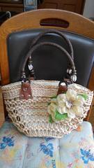 天然素材 花飾り付きかごバッグ 未使用品 タグ付き