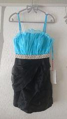 S ミニドレス Jewels 水色×ブラック オーガンジー 新品 J16495