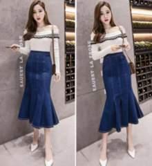 新品【7591】3XL(大きいサイズ)ブルー★デニムマーメイドロングスカート