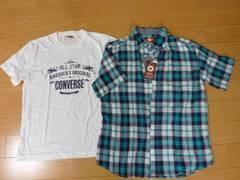 新品タグ付★コンバース★Tシャツ&チェックシャツ 2枚セット