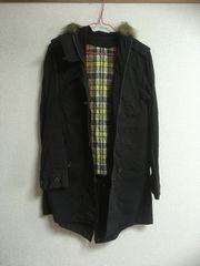 モッズコート・ブラック黒・フード付・サイズM
