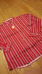 elementデザインストライプ 長袖シャツ ワインレッド サイズ3XLXXXL