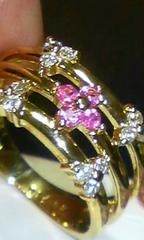 K18ピンクサファイア&ダイヤモンド幅広三連風フラワー