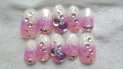 ジェル/pink紫ホワイトラメホロショートネイル