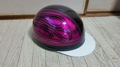 七色ラメ ファイヤーパターン コルク半 ヘルメット ピンクラメ