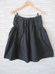 即決/無印良品/サイドポケットフレアコットンスカート/黒/W61