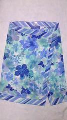 シュリーヌボーダー柄&ハイビスカス花柄シフォンロング巻きスカートパレオビキニ水着に