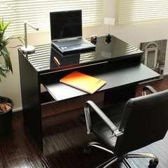スライドテーブル付 パソコンデスク(幅90�p)ブラック