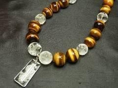 浮彫龍水晶トップ×皇帝龍水晶×タイガーアイ数珠ネックレス