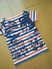 中古ペロペロボーダーTシャツ110オレンジJAM
