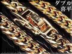 62cm/6mm/6面cutダブル喜平チェーンネックレス/ゴールド上質mc02
