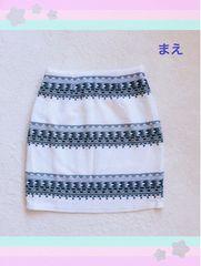 ■エスニック風■タイトスカート■ひざ上■ミニ■綺麗め上品■白