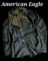 【American Eagle】Vintage フード付きデニムシャツ US−XL(XXL)インディゴ
