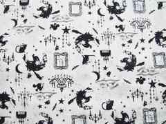 白地魔女城蝙蝠猫50×110ゴスロリハロウィン