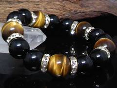 オニキス12ミリ§タイガーアイ14ミリ金ロンデル数珠