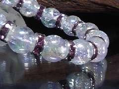 アクアオーラクラック10ミリ銀紫ロンデル数珠