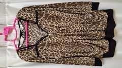 大きいサイズ3L☆谷間見せ豹柄長袖★キャバ嬢ヒョウ柄伸縮性抜群