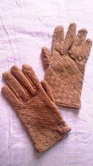 デフィエ格子メッシュ編み込み豚革本革リアルレザースエードグローブ手袋キャメル