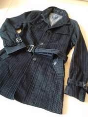 黒:ストライプジャケット:美品:ポケット深め:お兄系