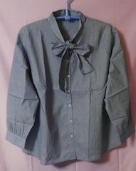 大きいサイズ☆6L☆ストライプYシャツ☆胸元リボン結び☆