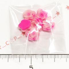 21*�@スタ*デコパーツ*微粒子ラメ♪3段お花*濃いピンク*955