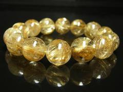 高級天然石数珠 タイチンルチルブレスレット 豪華14ミリ 金運パワーストーン