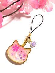 ★桜 ねこの顔レジンストラップ ミルキー ホロ さくら 猫 �F