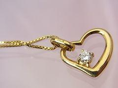 贈り物に…K18 ダイヤモンド オープンハート ネックレス N-952★dot