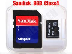◆送料無料 SANDISK 8GB microSDHC CLASS4 SDアダプタ付 バルク品