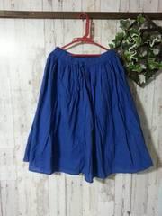 極美*コットンフレアスカート*LL3L*ロイヤルブルー*春夏大きいサイズ